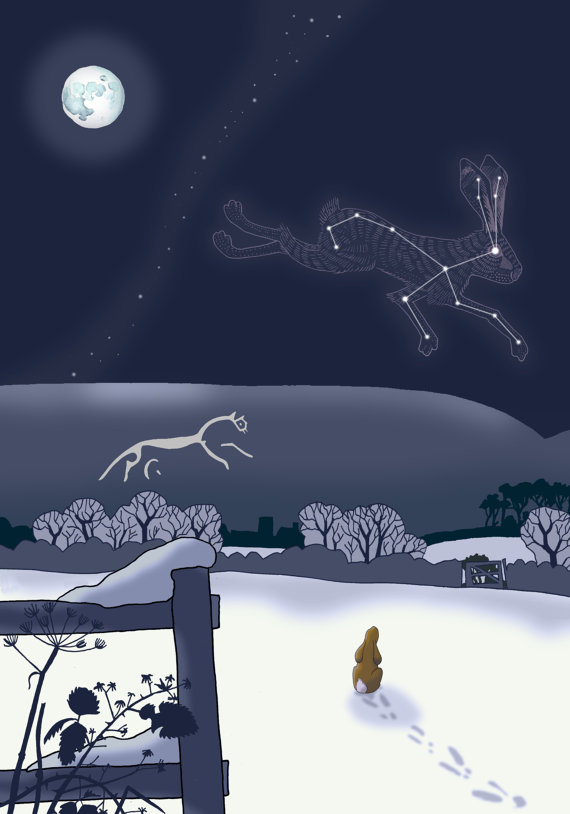 Hare Solstice card - by Dru Marland